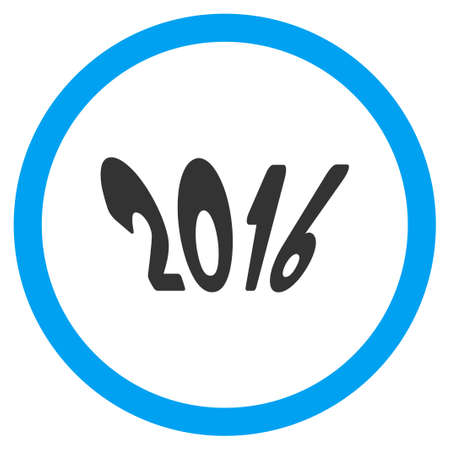 circled: 2016 Year vector icon. Style is bicolor flat circled symbol, blue and gray colors, rounded angles, white background.