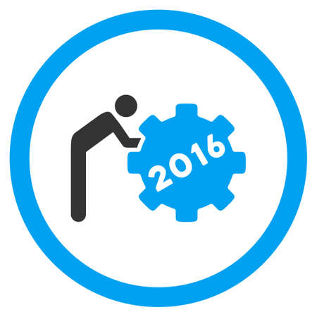 setup man: 2016 Working Man vector icon. Style is bicolor flat circled symbol, blue and gray colors, rounded angles, white background.