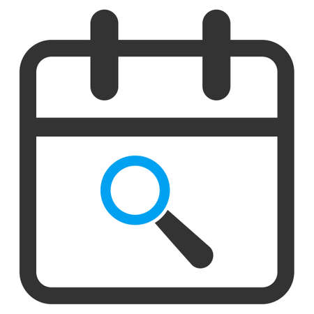 audit: Audit Date vector icon. Style is bicolor flat symbol, blue and gray colors, rounded angles, white background.