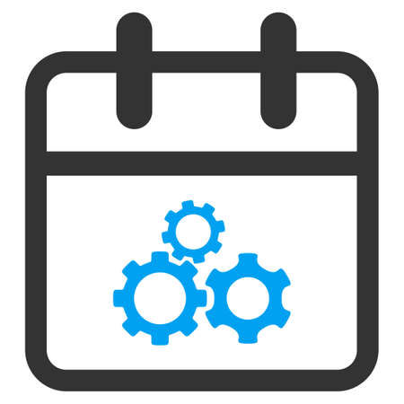 gear box: Mechanics Date vector icon. Style is bicolor flat symbol, blue and gray colors, rounded angles, white background.