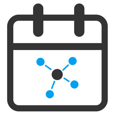 schedule system: Scheme Day vector icon. Style is bicolor flat symbol, blue and gray colors, rounded angles, white background.