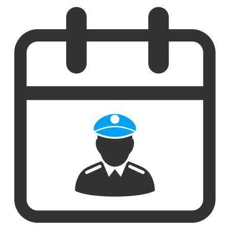 governor: Police Day vector icon. Style is bicolor flat symbol, blue and gray colors, rounded angles, white background.