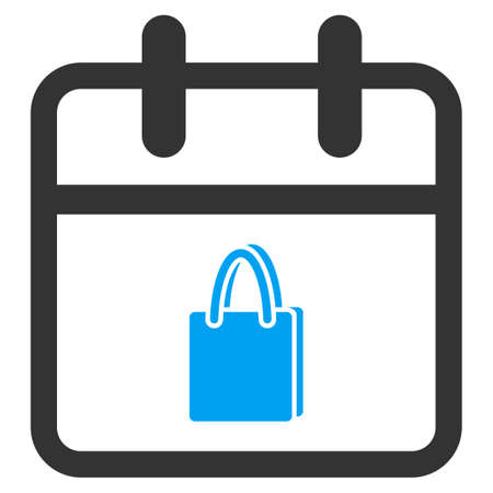 webshop: Shopping Date vector icon. Style is bicolor flat symbol, blue and gray colors, rounded angles, white background.
