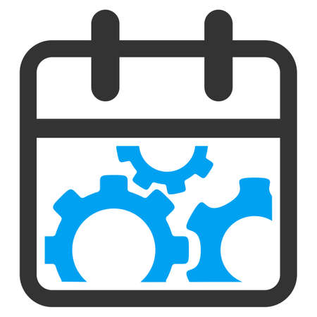 gear box: Technical Date vector icon. Style is bicolor flat symbol, blue and gray colors, rounded angles, white background.