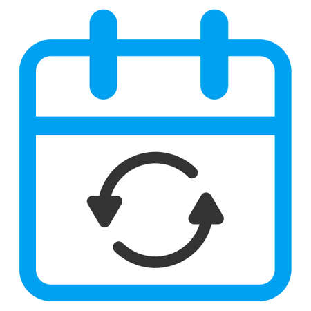 Update Day vector icon. Style is bicolor flat symbol, blue and gray colors, rounded angles, white background.