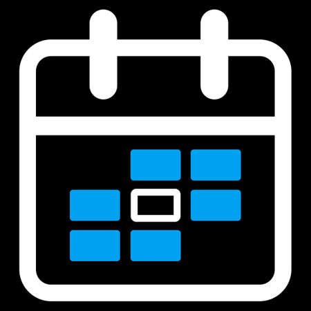 syllabus: Syllabus Date glyph icon. Style is bicolor flat symbol, blue and white colors, rounded angles, black background.