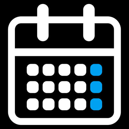 syllabus: Syllabus Month glyph icon. Style is bicolor flat symbol, blue and white colors, rounded angles, black background.