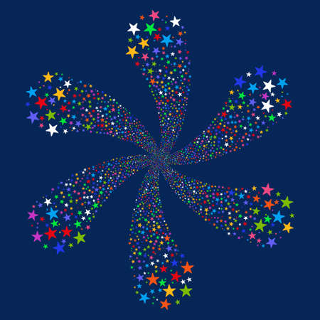 Fireworks Star Flower vector illustration. This Festival Pyrotechnic illustration is drawn with bright multicolored flat stars on a blue background. Illustration