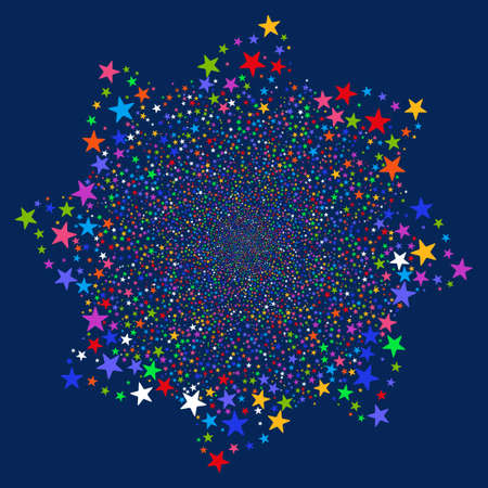 Salute Star Flower vector illustration. This Festival Pyrotechnic illustration is drawn with bright multicolored flat stars on a blue background.