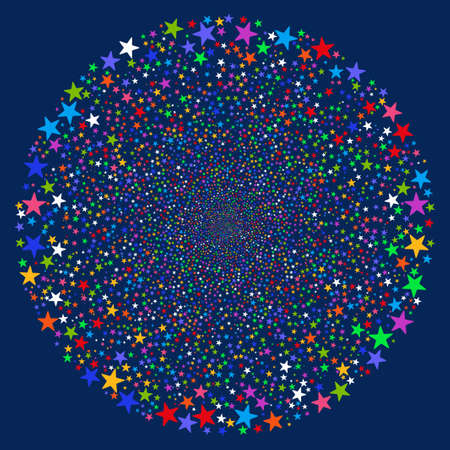 pyrotechnic: Fireworks Star Sphere vector illustration. This Christmas Pyrotechnic illustration is drawn with bright multicolored flat stars on a blue background.