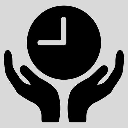 timed: Clock Care glyph icon. Style is flat symbol, black color, rounded angles, light gray background.