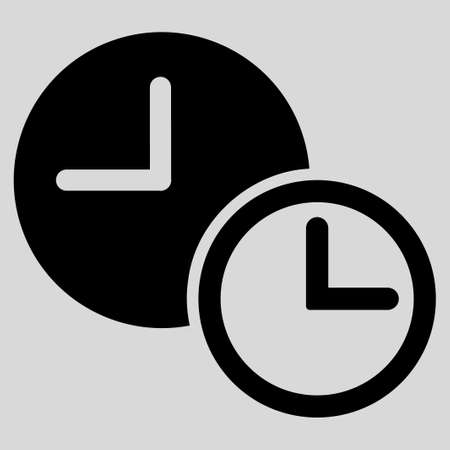 timed: Clocks glyph icon. Style is flat symbol, black color, rounded angles, light gray background.