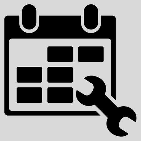 cronograma: Configure icono glifo Horarios. El estilo es el s�mbolo plana, color negro, �ngulos redondeados, fondo gris claro. Foto de archivo