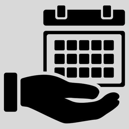 cronograma: Horario de Servicio icono glifo. El estilo es el s�mbolo plana, color negro, �ngulos redondeados, fondo gris claro.