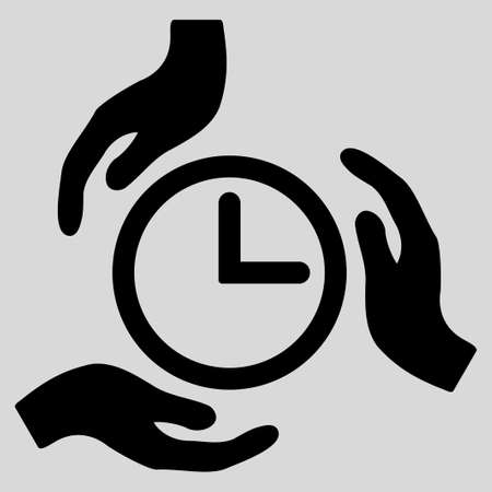timed: Time Care glyph icon. Style is flat symbol, black color, rounded angles, light gray background.