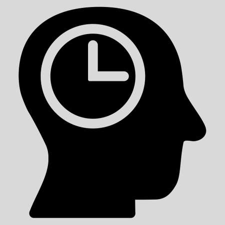 temporary workers: Time Manager glyph icon. Style is flat symbol, black color, rounded angles, light gray background.