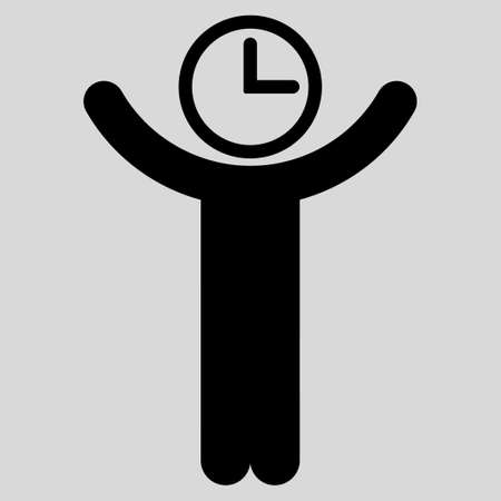 temporary employees: Time Manager glyph icon. Style is flat symbol, black color, rounded angles, light gray background.
