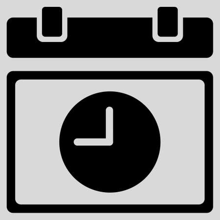 schedule: Time Schedule glyph icon. Style is flat symbol, black color, rounded angles, light gray background. Stock Photo