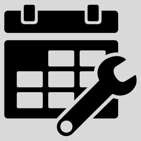 cronograma: Horarios de Ajuste icono de glifo. El estilo es el s�mbolo plana, de color negro, �ngulos redondeados, el fondo gris claro.