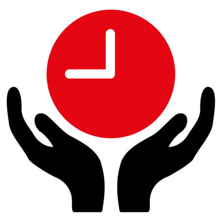 timed: Clock Care vector icon. Style is bicolor flat symbol, intensive red and black colors, rounded angles, white background. Illustration