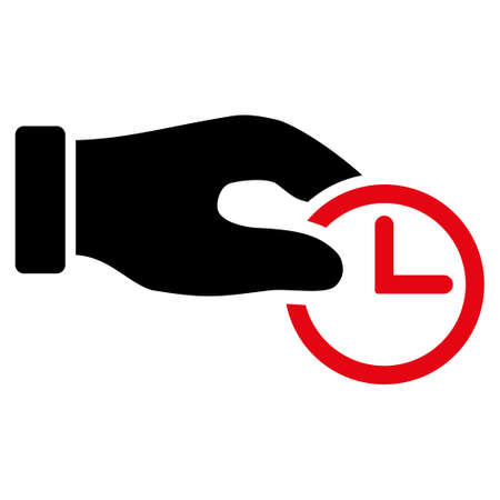 timed: Clock Properties vector icon. Style is bicolor flat symbol, intensive red and black colors, rounded angles, white background. Illustration