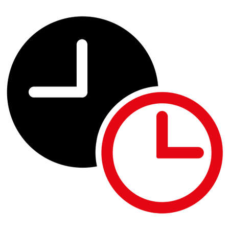 timed: Clocks vector icon. Style is bicolor flat symbol, intensive red and black colors, rounded angles, white background.