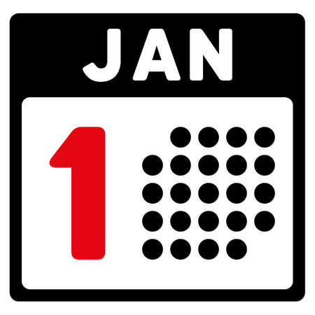 1 january: January First vector icon. Style is bicolor flat symbol, intensive red and black colors, rounded angles, white background.