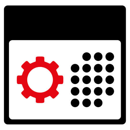 schedule system: Service Organizer vector icon. Style is bicolor flat symbol, intensive red and black colors, rounded angles, white background. Illustration