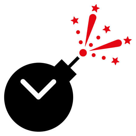 bombshell: Time Fireworks Charge vector icon. Style is bicolor flat symbol, intensive red and black colors, rounded angles, white background. Illustration