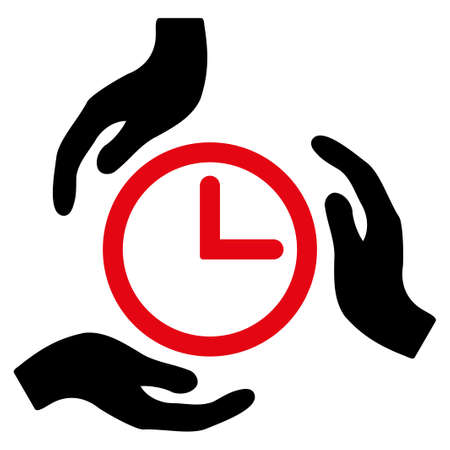 timed: Time Care vector icon. Style is bicolor flat symbol, intensive red and black colors, rounded angles, white background. Illustration