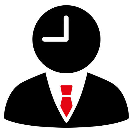 temporary workers: Time Manager vector icon. Style is bicolor flat symbol, intensive red and black colors, rounded angles, white background.
