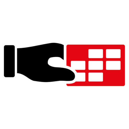 cronograma: Horario del vector del icono Propiedades. El estilo es el s�mbolo plana bicolor, colores rojo y negro intensivos, �ngulos redondeados, fondo blanco. Vectores