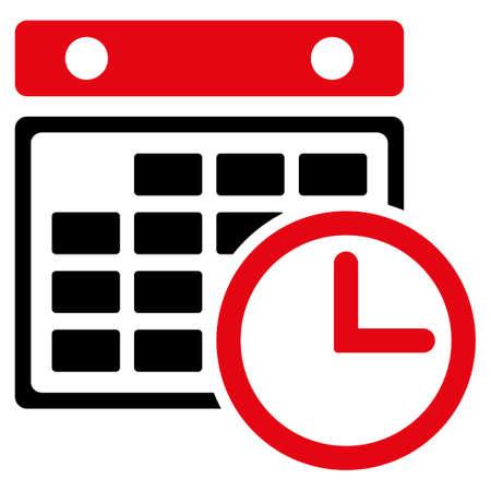 cronograma: Horario del icono del vector. El estilo es el s�mbolo plana bicolor, colores rojo y negro intensivos, �ngulos redondeados, fondo blanco. Vectores