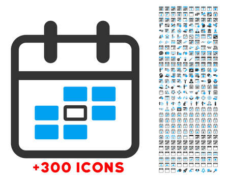 syllabus: Syllabus Date vector icon with additional 300 date and time management pictograms. Style is bicolor flat symbols, blue and gray colors, rounded angles, white background. Illustration