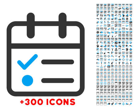 telephone icon: Day Tasklist vector icon with additional 300 date and time management pictograms. Style is bicolor flat symbols, blue and gray colors, rounded angles, white background.
