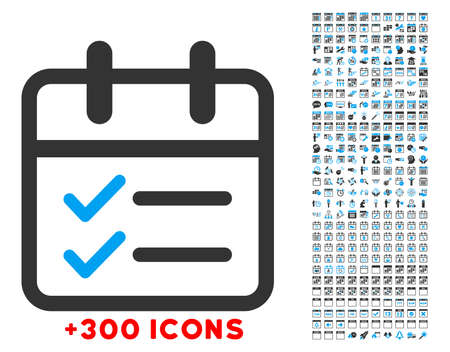 Day Tasks vector icon with additional 300 date and time management pictograms. Style is bicolor flat symbols, blue and gray colors, rounded angles, white background.