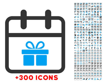 date palm: Gift Date vector icon with additional 300 date and time management pictograms. Style is bicolor flat symbols, blue and gray colors, rounded angles, white background.