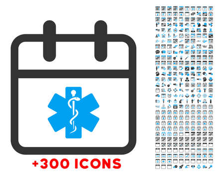 doctor appointment: Health Care Date vector icon with additional 300 date and time management pictograms. Style is bicolor flat symbols, blue and gray colors, rounded angles, white background.