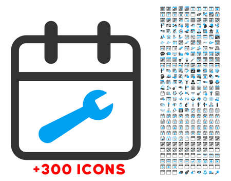 in tune: Service Date vector icon with additional 300 date and time management pictograms. Style is bicolor flat symbols, blue and gray colors, rounded angles, white background.