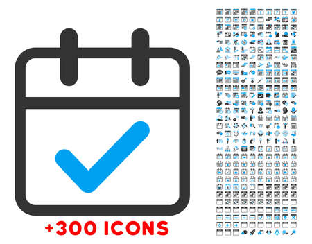 date validate: Valid Day vector icon with additional 300 date and time management pictograms. Style is bicolor flat symbols, blue and gray colors, rounded angles, white background.