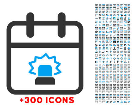 gift accident: Emergency Day glyph icon with additional 300 date and time management pictograms. Style is bicolor flat symbols, blue and gray colors, rounded angles, white background.