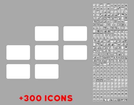 dataset: Organizer Grid vector icon with additional 300 date and time management pictograms. Style is bicolor flat symbols, dark gray and white colors, rounded angles, silver background. Illustration