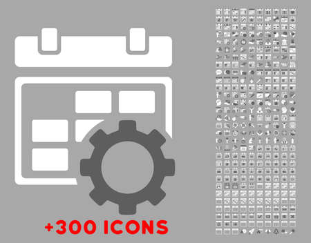 mechanical back: Organizer Adjustment vector icon with additional 300 date and time management pictograms. Style is bicolor flat symbols, dark gray and white colors, rounded angles, silver background.