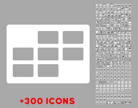 dataset: Syllabus Dataset vector icon with additional 300 date and time management pictograms. Style is bicolor flat symbols, dark gray and white colors, rounded angles, silver background. Illustration