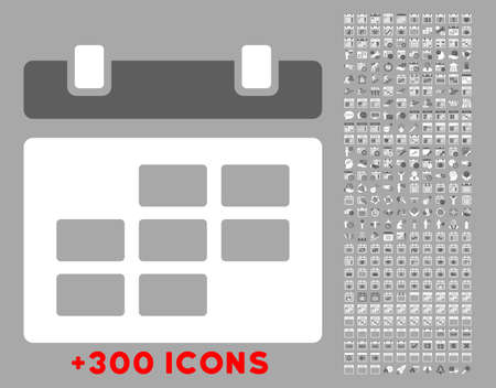 dataset: Binder vector icon with additional 300 date and time management pictograms. Style is bicolor flat symbols, dark gray and white colors, rounded angles, silver background. Illustration