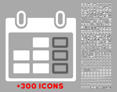 dataset: Syllabus Week vector icon with additional 300 date and time management pictograms. Style is bicolor flat symbols, dark gray and white colors, rounded angles, silver background.