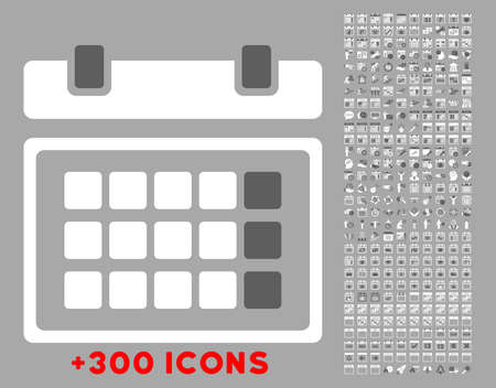unnamed: Syllabus vector icon with additional 300 date and time management pictograms. Style is bicolor flat symbols, dark gray and white colors, rounded angles, silver background. Illustration