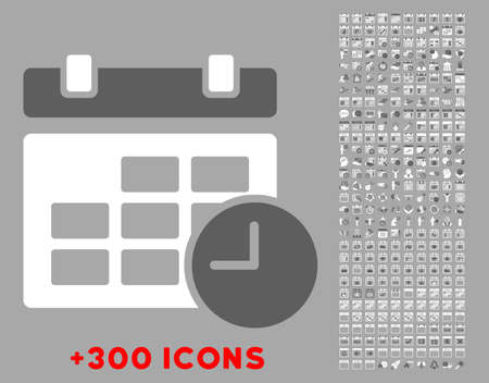 dataset: Date And Time vector icon with additional 300 date and time management pictograms. Style is bicolor flat symbols, dark gray and white colors, rounded angles, silver background. Illustration