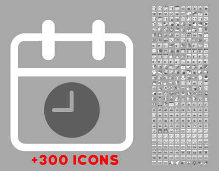 temporary workers: Date And Time vector icon with additional 300 date and time management pictograms. Style is bicolor flat symbols, dark gray and white colors, rounded angles, silver background. Illustration