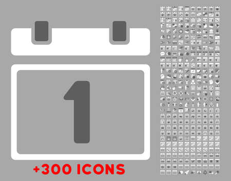 first day: First Day vector icon with additional 300 date and time management pictograms. Style is bicolor flat symbols, dark gray and white colors, rounded angles, silver background.